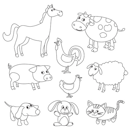 nag: Cute cartoon farm animals and birds for coloring book. Outline with adjustable stroke. Black and white version