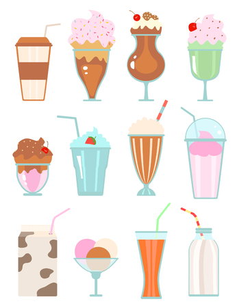 Collection of milkshakes with berries, milk beverages, ice cream on white.