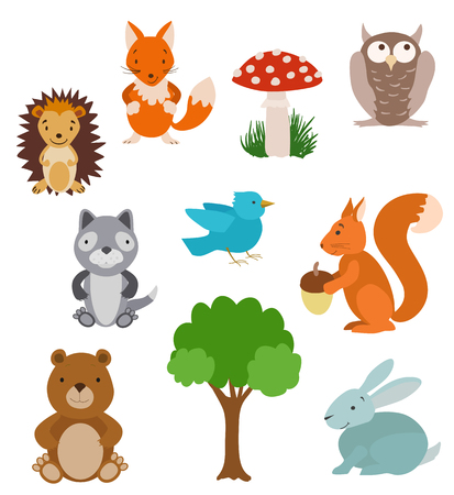 tree  forest: Set of cute cartoon animals. Forest collection with tree and mushroom.