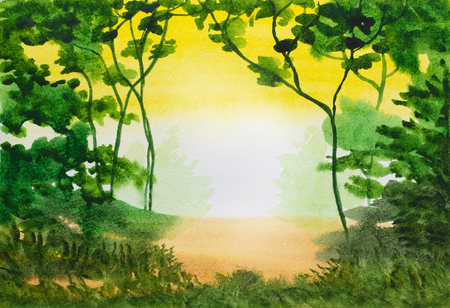 watercolour background: watercolor abstract background with trees and green folliage Stock Photo