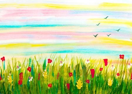 Aquarell von Hand abstrakte Landschaft mit Wiese, Blumen Sonnenaufgang Himmel und fliegende Vögel gemalt Standard-Bild