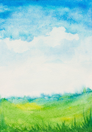 watercolor abstract textured background with sky, clouds,green grass landscape