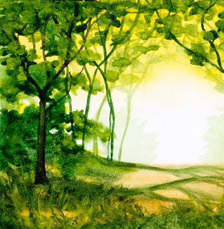 watercolor abstract background with trees in sunlight and green folliage