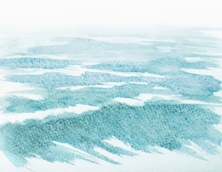 water waves: watercolor abstract illustration of ocean water waves