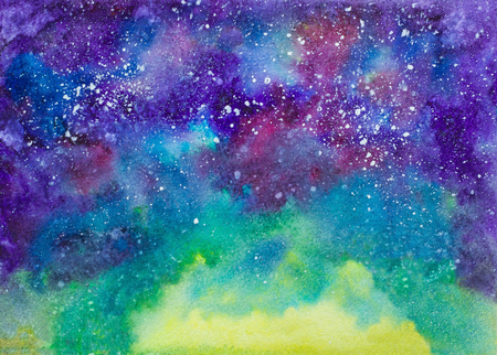 painted background: Galaxy cosmic space hand painted watercolor texture horizontal background. Night sky light with shimmering stars.