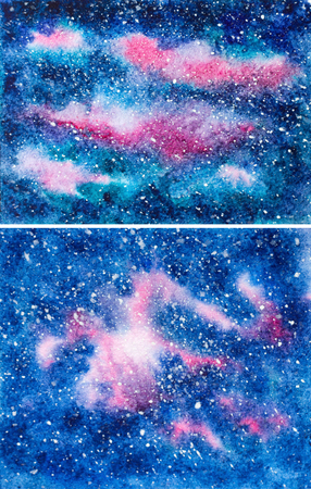dark blue: hand painted texture background with galaxy and stars. set