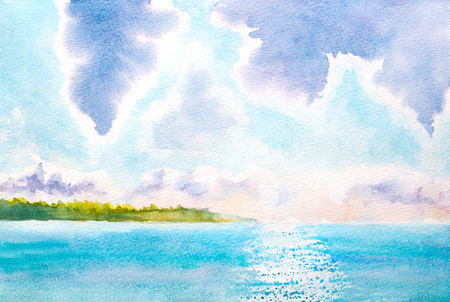 lake shore: hand painted watercolor landscape with lake, sunlight, clouds