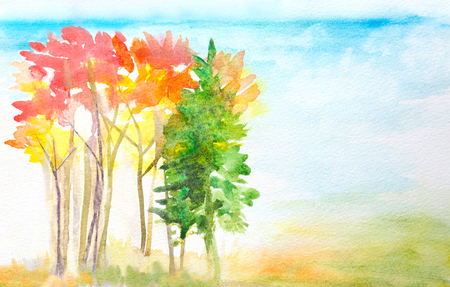hand painted watercolor landscape with autumn trees Stock Photo