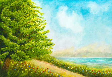 landscape flowers: hand painted watercolor nature landscape with tree, flowers, grass, road and lake
