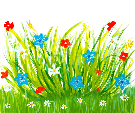 color pencils: spring grass and flowers simply meadow brush childish drawing Stock Photo