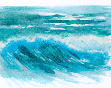 ocean background: hand painted watercolor ocean or sea waves texture background