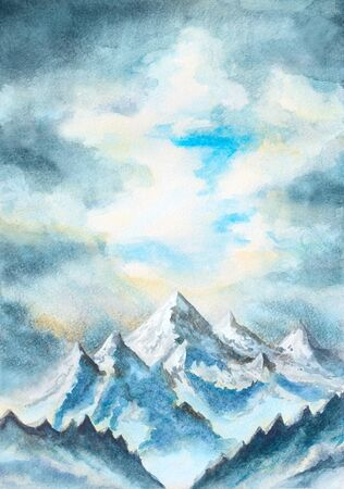 overlooking: watercolor illustration with mountains and clouds landscape