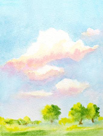 手描き水彩の垂直風景雲、木と抽象的な緑の芝生と空と