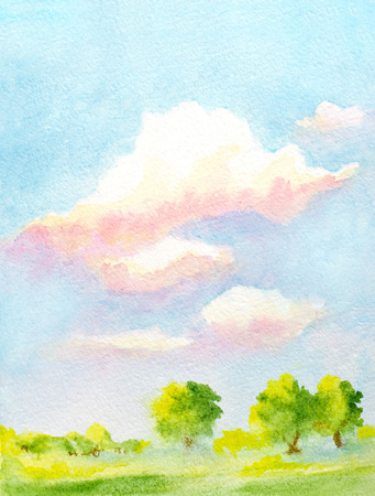 hand painted watercolor vertical landscape with sky with clouds, trees and abstract green grass 스톡 콘텐츠