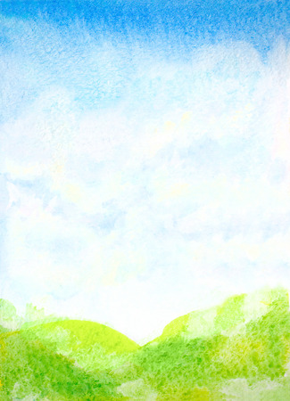 sky and grass: watercolor hand painted landscape illustration with abstract sky, clouds and green grass