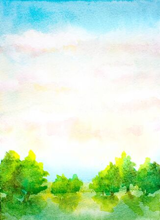 watercolor vertical landscape with sky with clouds, trees and green grass
