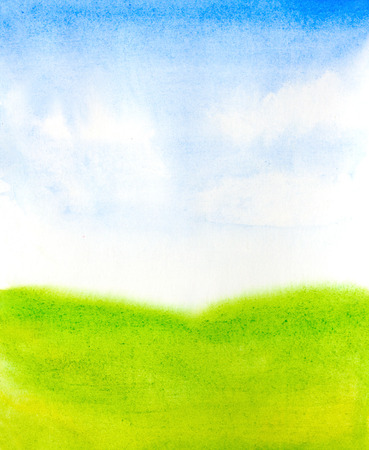 grass and sky: watercolor landscape with abstract sky, clouds and green grass