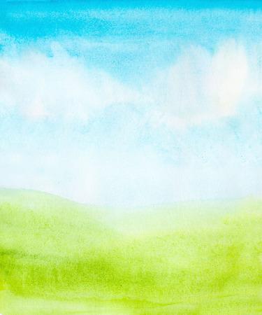 aquarel abstracte hemel, wolken en groen gras achtergrond