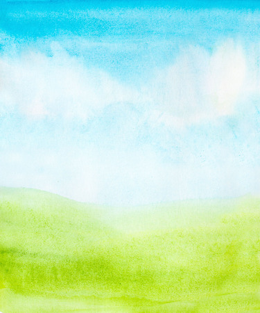 sky and grass: watercolor abstract sky, clouds and green grass background Stock Photo
