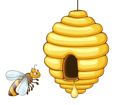 bijen vliegen en bijenkorf met honing druppel. vector illustratie Vector Illustratie