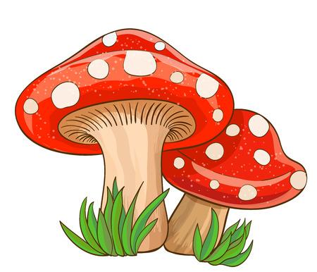 cartoon red mushrooms and grass on white. vector illustration 일러스트