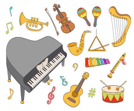 instruments de musique: des instruments de musique de bande dessinée mis. illustration vectorielle