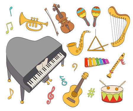 instrumentos musicales: instrumentos musicales de dibujos animados conjunto. ilustración vectorial