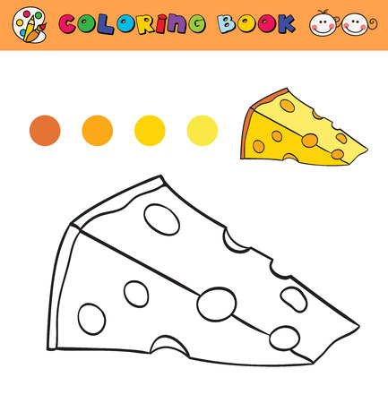 color samples: coloring book page template with cheese, color samples. vector illustraton