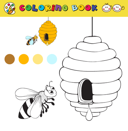 color samples: coloring book page template with beehive and bee, color samples. vector illustraton