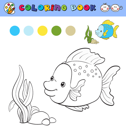 color samples: coloring book page template with tropical fish and plants, color samples. vector illustraton Illustration