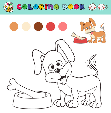 coloring book page template with dog and bone, color samples. vector illustraton Stock Illustratie