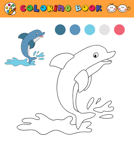 color samples: coloring book page template with jumping dolphin, color samples. vector illustraton