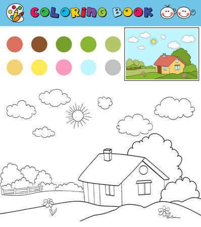 color samples: coloring book page template with house on countryside landscape, color samples. vector illustraton