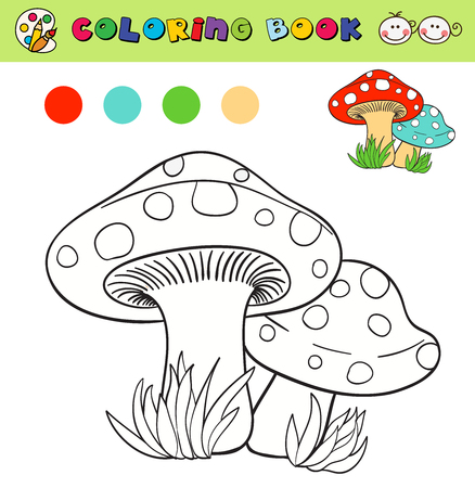 color samples: coloring book page template with mushrooms in grass, color samples. vector illustraton