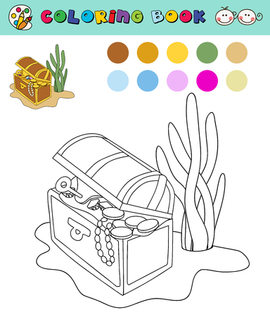 treasure trove: coloring book page template open chest with gold, gems, color samples. vector illustraton
