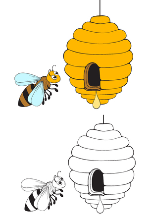 bee flying and beehive with honey drop. coloring page version. vector illustration