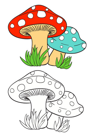 cartoon mushrooms and grass on white with coloring page version. vector illustration