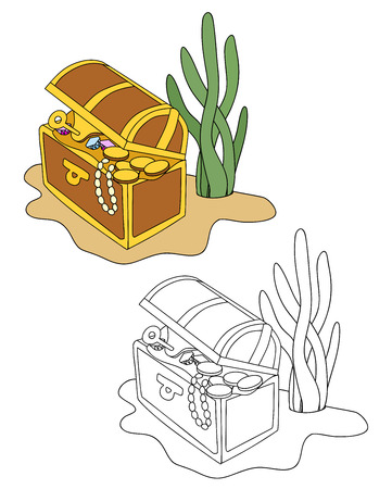 open chest with gold, gems. coloring version included. vector illustration Illustration