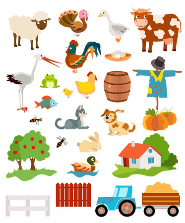 tress: set of farming live animals, birds, objects, farmhouse, tress, scarecrow, pumpkins and tractor. vector illustration
