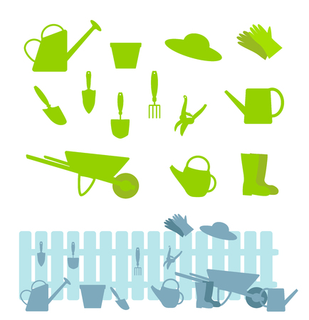 Set of gardening tools on white and composition with a fence. Vector flat illustration Illustration
