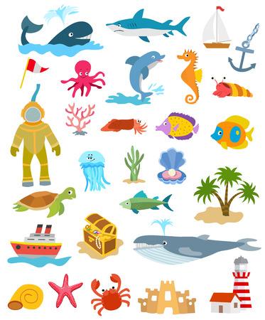 set van zee en oceaan dieren en vissen, palmbomen en zandkasteel, schepen, gouden borst, vuurtoren. vector illustratie Vector Illustratie