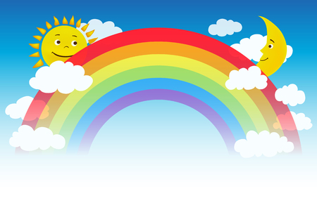 vector illustration of a rainbow with clouds, sun and moon characters