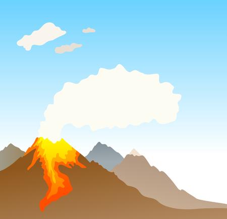 erupting volcano background vector illustration