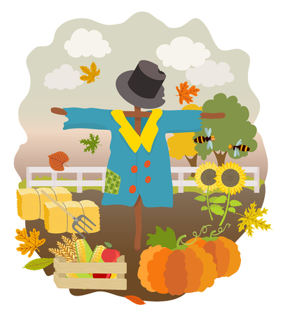 hay bales: cartoon scarecrow, pumpkins, sunflowers, drawer with cucumber, wheat, apples, hay bales, pitchfork, falling autumn leaves, fence and trees. vector illustration