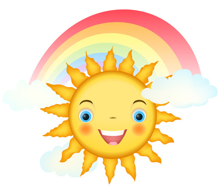 baby face: smiling cartoon sun character with rainbow and clouds on white. vector illustration