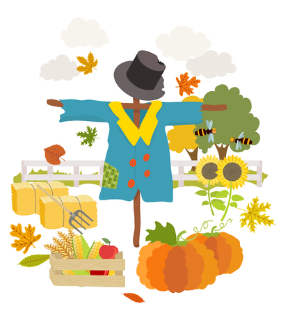 pumpkin patch: cartoon scarecrow. vector illustration