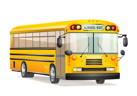 schoolbus: vector school bus isolated on white