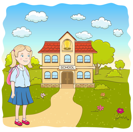 child standing: cartoon little girl in blue skirt, with backpack on the way to the primary school. hand drawn vector illustration