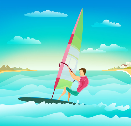cartoon with windsurfing athletic man on ocean waves. stylish summer surfing sport theme illustration. vector