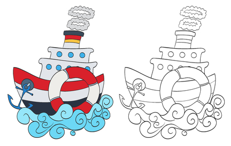 steamship: hand drawn cartoon steamship with coloring page version. vector illustration